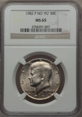 """Kennedy Half Dollars, 1982-P 50C No """"FG"""" MS65 NGC. NGC Census: (82/48). PCGS Population (344/216). Mintage: 10,819,000. Numismedia Wsl. Price for..."""