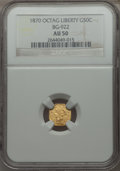 California Fractional Gold: , 1870 50C Liberty Octagonal 50 Cents, BG-922, R.3, AU50 NGC. NGCCensus: (1/21). PCGS Population (7/119). ...
