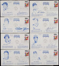 Baseball Collectibles:Others, Baseball Greats Signed First Day Covers Lot of 8....