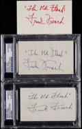 Baseball Collectibles:Others, Frank Frisch Signed Index Cards Lot of 3. ...