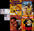 Basketball Collectibles:Others, 1991-96 Magic Johnson Retirement Ticket Stub & Comeback Game Ticket Stub and Publications Lot of 7 with One Signed....