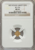 California Fractional Gold: , 1855 25C Liberty Round 25 Cents, BG-226, R.5, MS62 NGC. NGC Census:(3/1). PCGS Population (12/16). ...