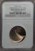 Errors, 1990(-P) 25C Washington Quarter -- Struck 50% Off Center -- MS66 NGC....
