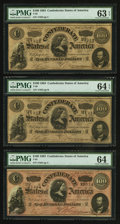 Confederate Notes:1864 Issues, T65 $100 1864 (3) PF-2 Cr. 493.. ... (Total: 3 notes)