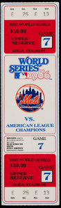 Baseball Collectibles:Tickets, 1986 New York Mets vs. Boston Red Sox World Series Game Seven FullTicket....