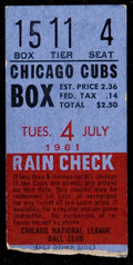 Baseball Collectibles:Tickets, 1961 San Francisco Giants at Chicago Cubs Willie Mays Home Run #300Ticket Stub....
