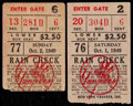 "Baseball Collectibles:Tickets, 1949 New York Yankees ""Summer of '49"" Ticket Stubs Lot of 2...."