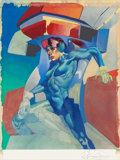 Pulp, Pulp-like, Digests, and Paperback Art, American Artist (20th Century). Blue Woman Warrior.Watercolor and gouache on board. 11.25 x 8.5 in. (sight). Signedind...