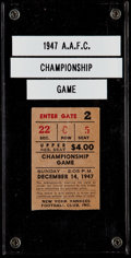 Football Collectibles:Tickets, 1947 AAFC Championship Game (Browns Vs. Yankees) Ticket Stub....