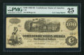 "Confederate Notes:1862 Issues, Manuscript Endorsement ""A.S. Camp"" T40 $100 1862 PF-20 Cr. 308....."