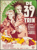 "Movie Posters:Hitchcock, The 39 Steps (Panther Film, R-1951). Danish Poster (24"" X 33.25"").Hitchcock.. ..."
