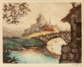 Mainstream Illustration, André Raffray (French, b. 1925). Bridge on the Creek.Etching with hand coloring. 6 x 8 in. (image). Signed lowerright...