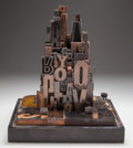 Fine Art - Sculpture, American:Contemporary (1950 to present), American School (20th Century). Cityscapes #2, 1969. Woodenstamps. 16 inches (40.6 cm) high on a 2 inches (5.1 cm) hig...