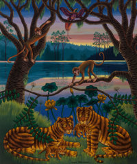 Coqué MartÍnez (Spanish, 1926-2009) Tigers by the Lagoon Oil on canvas 30 x 25-1/4 inc