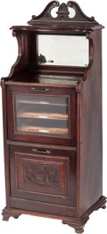 Furniture , An Eastlake-Style Mahogany and Glass Music Cabinet, 20th century. 50 x 18-1/4 x 15-1/2 inches (127 x 46.4 x 39.4 cm). PROP...