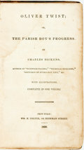 Books:Literature Pre-1900, Charles Dickens. Oliver Twist; or, The Parish Boy'sProgress. New-York: Wm. H. Colyer, 1839....