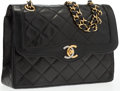 "Luxury Accessories:Accessories, Chanel Black Quilted Lambskin Leather Small Double Flap Bag WithGold Hardware. Very Good Condition. 9"" Width x 6""Hei..."