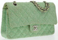 "Luxury Accessories:Bags, Chanel Green Tweed Medium Double Flap Bag with Silver Hardware. Good Condition. 10"" Width x 6"" Height x 2.5"" Depth, 17..."