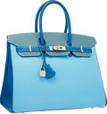 Luxury Accessories:Bags, Hermes Special Order Horseshoe 35cm Blue Celeste, Mykonos &Blue Jean Epsom Leather Birkin Bag with Brushed PalladiumHardware...