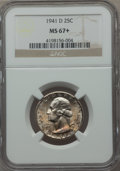 Washington Quarters, 1941-D 25C MS67+ NGC. NGC Census: (102/0). PCGS Population (33/1).Mintage: 16,714,800. Numismedia Wsl. Price for problem f...