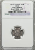 Early Half Dimes, 1800 H10C LIBEKTY, V-2, LM-3, R.4, -- Bent, Damaged -- NGC Details.Fine. NGC Census: (0/40). PCGS Population (0/6). ...