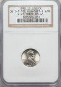 Errors, 1999 1C Lincoln Cent -- Struck on T-1 10C Planchet 2.26 Grams -- MS66 NGC....