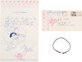 Music Memorabilia:Autographs and Signed Items, A Twice-Signed 1972 Letter and Mickey Mouse Drawing From MichaelJackson to a Fan With a Michael Jackson Owned And Worn Bracel...
