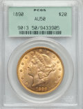 Liberty Double Eagles: , 1890 $20 AU50 PCGS. PCGS Population (9/721). NGC Census: (1/624). Mintage: 75,995. Numismedia Wsl. Price for problem free N...