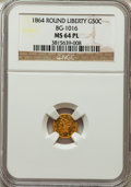 California Fractional Gold , 1864 50C Liberty Round 50 Cents, BG-1016, R.4, MS64 ProoflikeNGC....