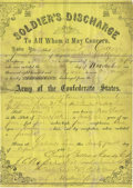 Military & Patriotic:Civil War, Texas Confederate Soldier's 1862 Discharge: Thomas B. Crain, later of Waul's Texas Legion and captured at Vicksburg. One pag...