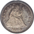 Seated Quarters: , 1851 25C MS64 PCGS. The razor-sharp striking details are consistentover every design element, on both sides of this condit...