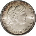 Barber Quarters: , 1908-D 25C MS66 PCGS. Potent luster radiates from silver surfacesthat are visited by whispers of lavender, gold-orange, an...