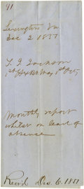 "Autographs:Military Figures, Confederate General Thomas J. ""Stonewall"" Jackson Handwritten andSigned Document. Wrapper page for his ""monthly report whil..."