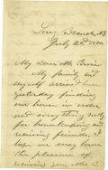 Autographs:Military Figures, Ulysses S. Grant as President: A Fine Three-Page Autograph Letter Signed. Dated July 22, 1870, and written at Long Branch, N...