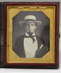 Autographs:Military Figures, Superb 1/6th Plate Daguerrotype of a Southern Gentleman. In his wide-brimmed white straw hat & ivory-headed walking stick - ...