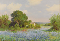 ROBERT WOOD (G. DAY) (1889-1979) Hill Country Bluebonnets, late 1930s Oil on canvas 22in. x 32in. Signed lower left&...