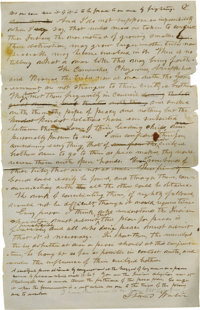 "Confederate General Stand Watie Autograph Letter Signed, 7 pages, 8"" x 12.25"", Canadian District, Cherokee Nat..."