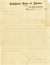 John C. Reagan, CSA Postmaster General, Autograph Letter Signed. This handwritten and signed letter by Confederate Postm...
