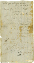 """Autographs:Military Figures, Confederate Generals Thomas J. """"Stonewall"""" Jackson and William Dorsey Pender War-Date Endorsements. Center panel (only) from..."""