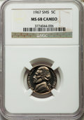 SMS Jefferson Nickels, 1967 5C SMS MS68 Cameo NGC. NGC Census: (53/1). PCGS Population (7/0). ...