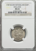 Netherlands:Holland, Netherlands: Holland. Provincial Duit 1749 MS65 NGC,...
