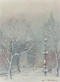 Fine Art - Painting, American:Modern  (1900 1949)  , Johann Berthelsen (American, 1883-1972). Washington SquarePark. Oil on canvasboard. 12 x 8-3/4 inches (30.5 x 22.2 cm)...