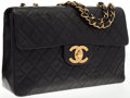 "Luxury Accessories:Accessories, Chanel Black Quilted Lambskin Leather Single Flap Maxi Bag. VeryGood Condition. 13"" Width x 9"" Height x 3.5"" Depth..."