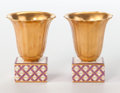 Ceramics & Porcelain, Continental:Modern  (1900 1949)  , Richard-Ginori . Pair of Cabinet Vases, 1925. Gilt and enameled porcelain. 3-1/4 inches high x 2-1/2 inches diameter (8.... (Total: 2 Items)