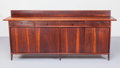 Furniture , Sam Maloof (American, 1916-2009). Early Credenza, 1961. Walnut, leather, Pacific cloth. 37-1/2 x 88 x 19-3/4 inches (95....