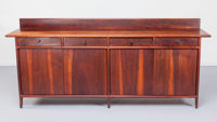 SAM MALOOF (American, 1916-2009) Early Credenza, 1961 Walnut, leather, Pacific cloth 37-1/2 x 88