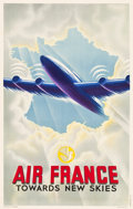"Movie Posters:Miscellaneous, Air France Travel Poster (1947). French Poster (24.5"" X 38.75"")""Towards New Skies."". ..."