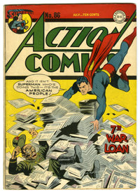 Action Comics #86 (DC, 1945) Condition: VG+. Jack Burnley cover. Ira Yarbrough, John Daly, and Mort Meskin art. Overstre...