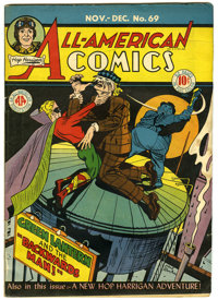 All-American Comics #69 (DC, 1945) Condition: FN. Green Lantern cover art by Paul Reinman. Mutt and Jeff, Hop Harrigan...