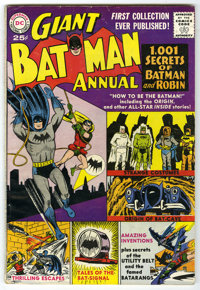 Batman Annual #1 (DC, 1961) Condition: VG. Features the Caped Crusader's costumes, the Bat-Signal, the Batcave, his Crim...
